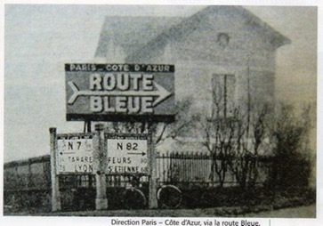 Panneau route bleue